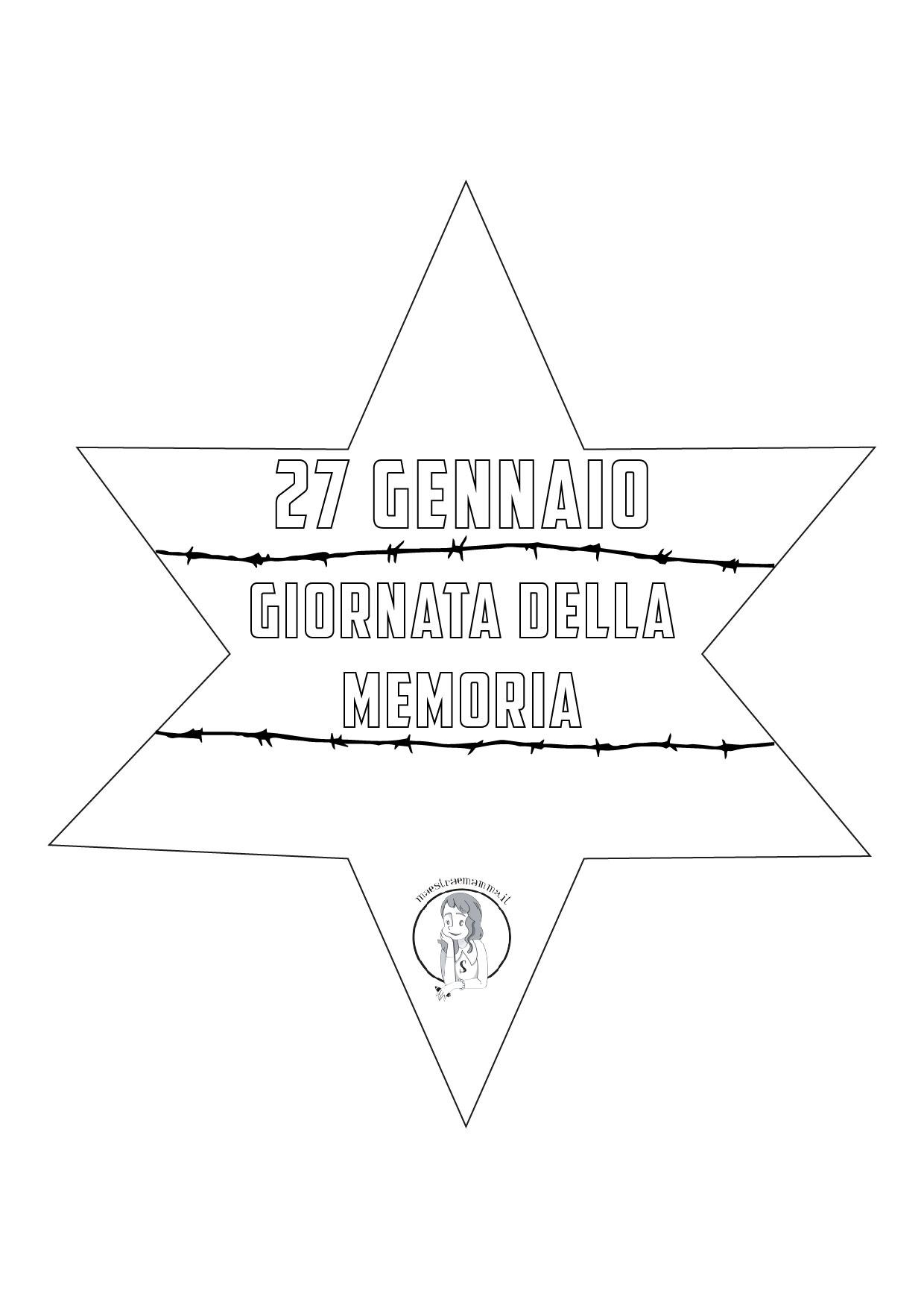 stella olocausto shoah da colorare scheda didattica scuola bambini 27 gennaio