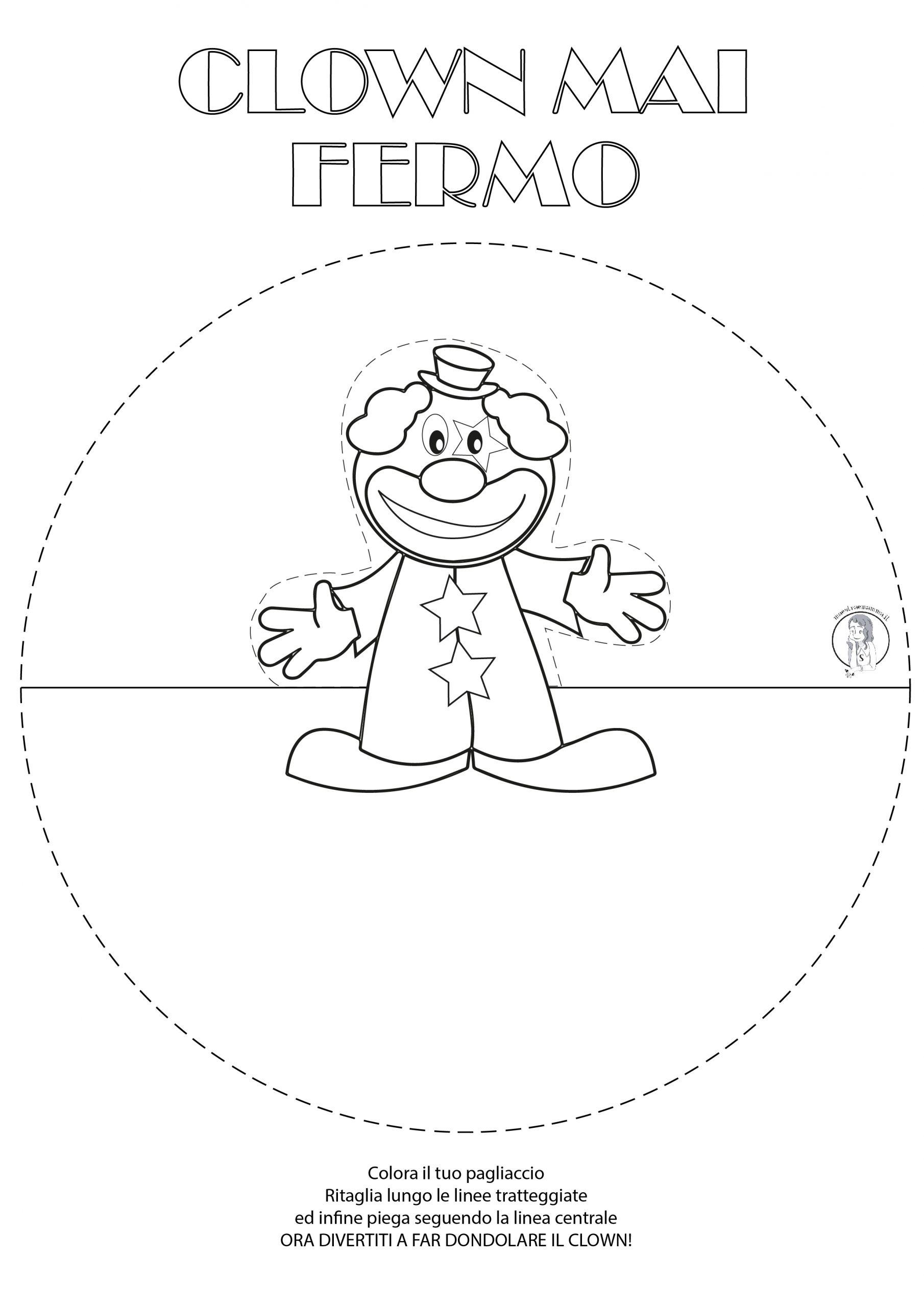 Lavoretto per Carnevale semplice per bambini: clown che dondola pagliaccio