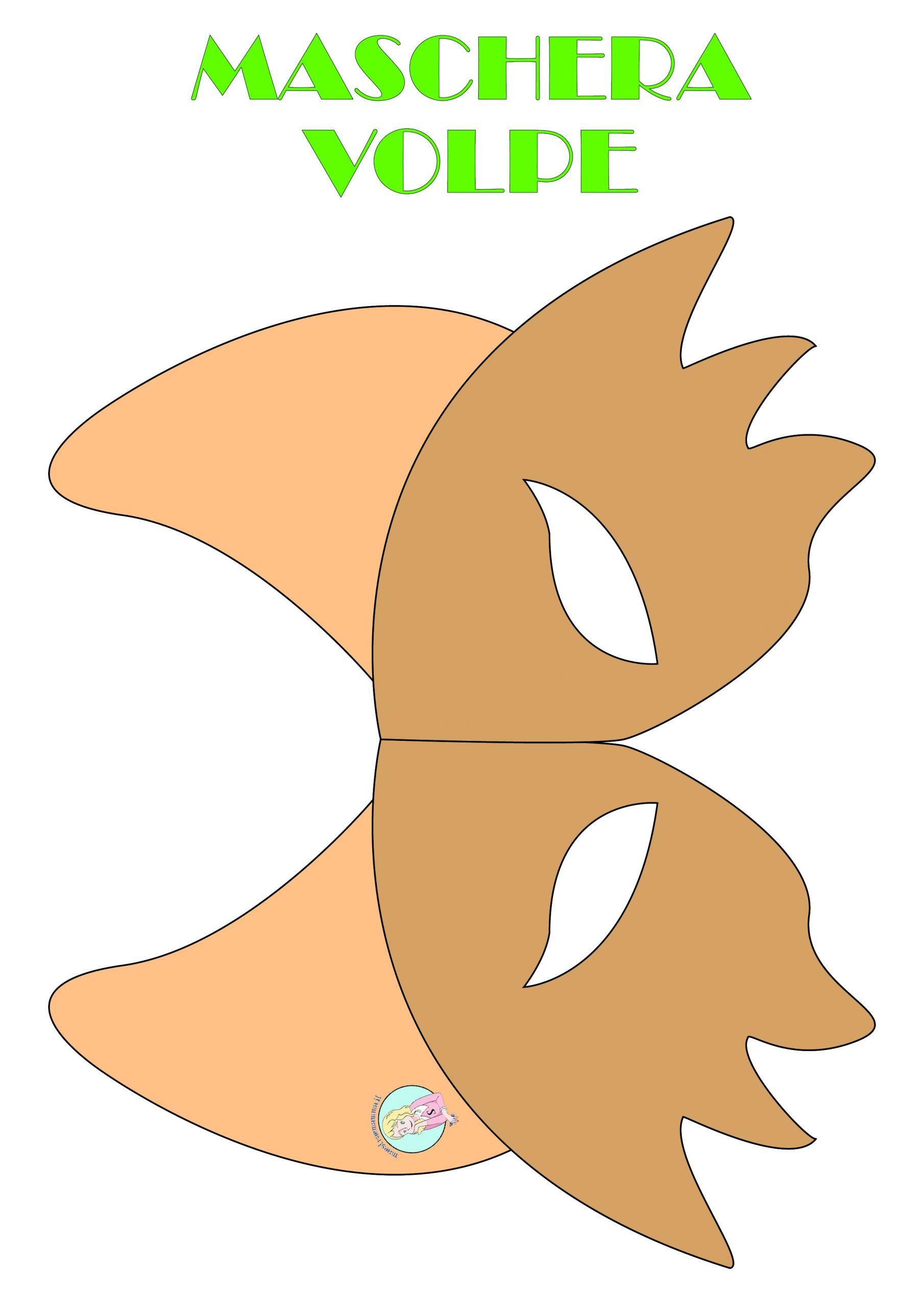 Maschere di Carnevale da colorare, ritagliare e stampare- maschera volpe