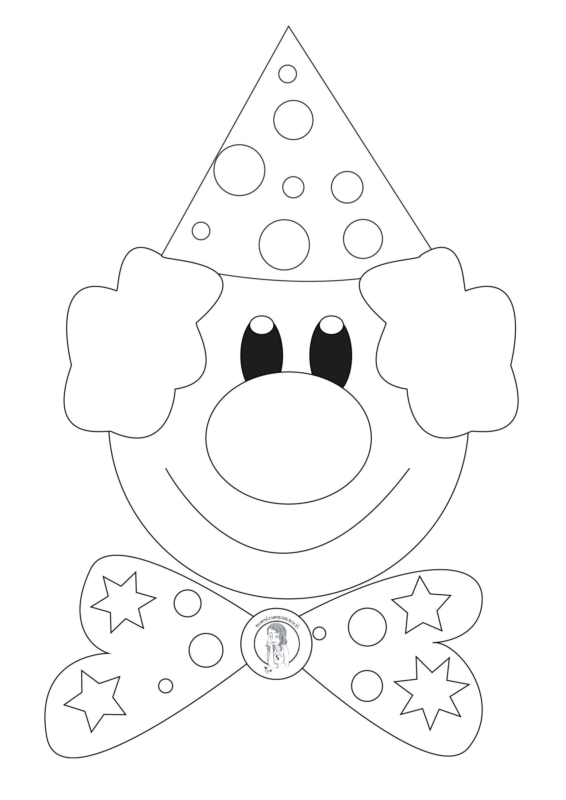 disegno carnevale pagliaccio da stampare ritagliare e colorare