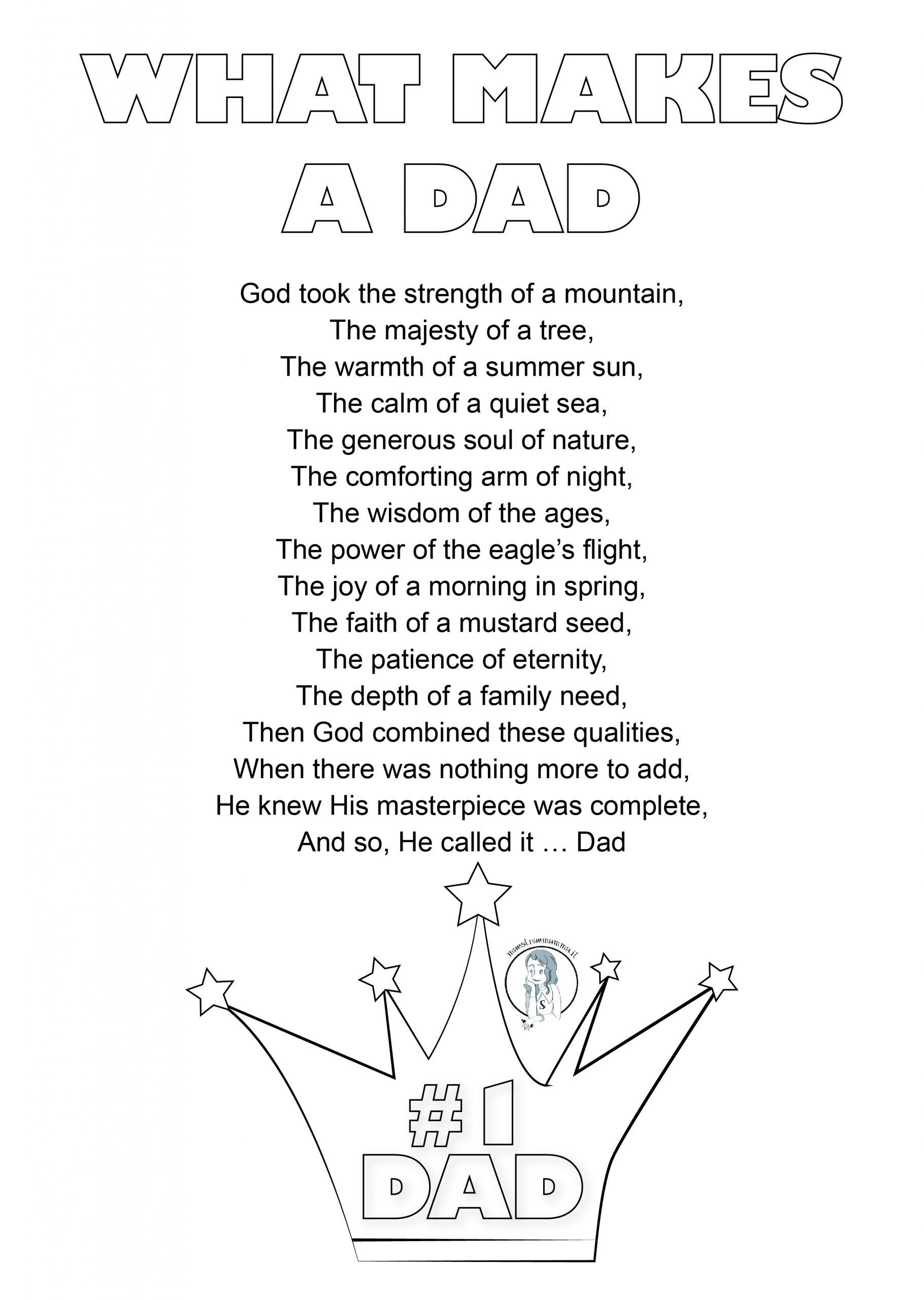 What makes a dad - poems - poesia in inglese per la festa del papà
