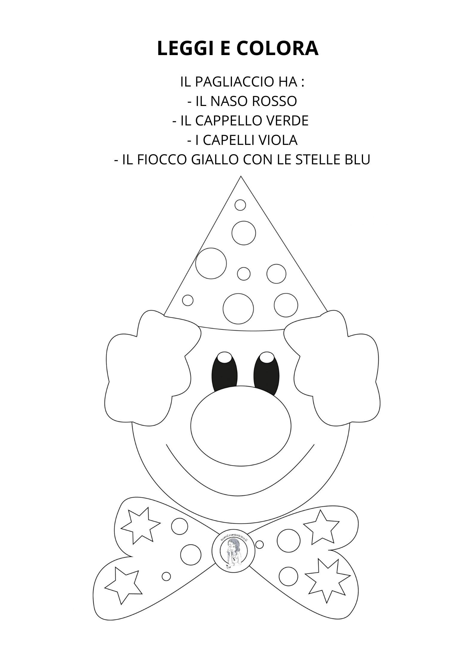 Leggi e colora - scheda didattica di Carnevale - classe prima