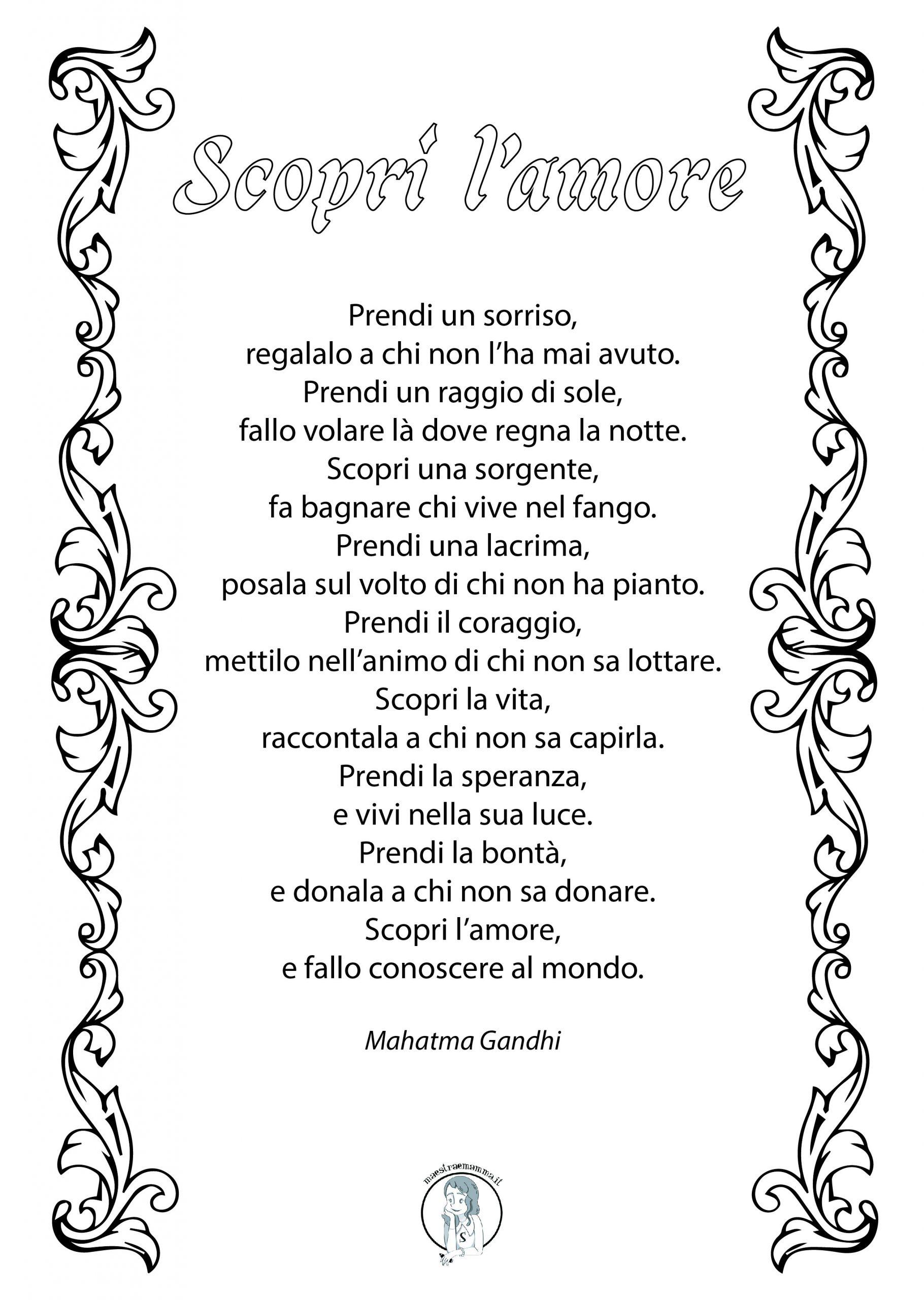 """""""Scopri l'amore"""" poesia di San Valentino di Mahatma Gandhi"""