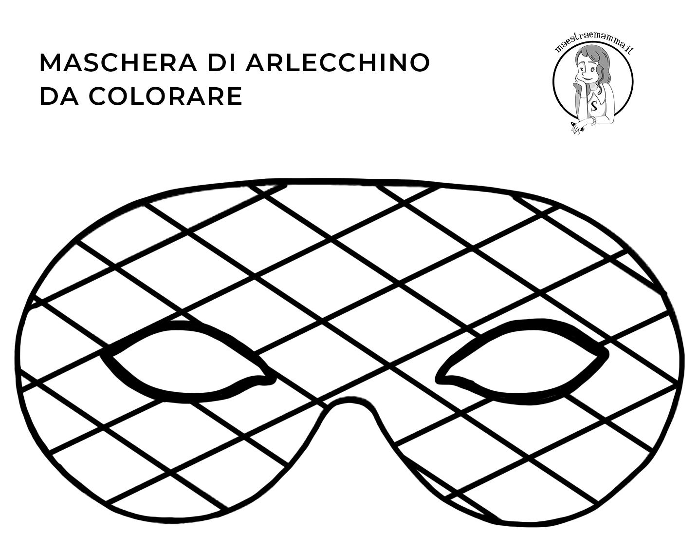 arlecchino-Maschere di Carnevale da colorare e ritagliare