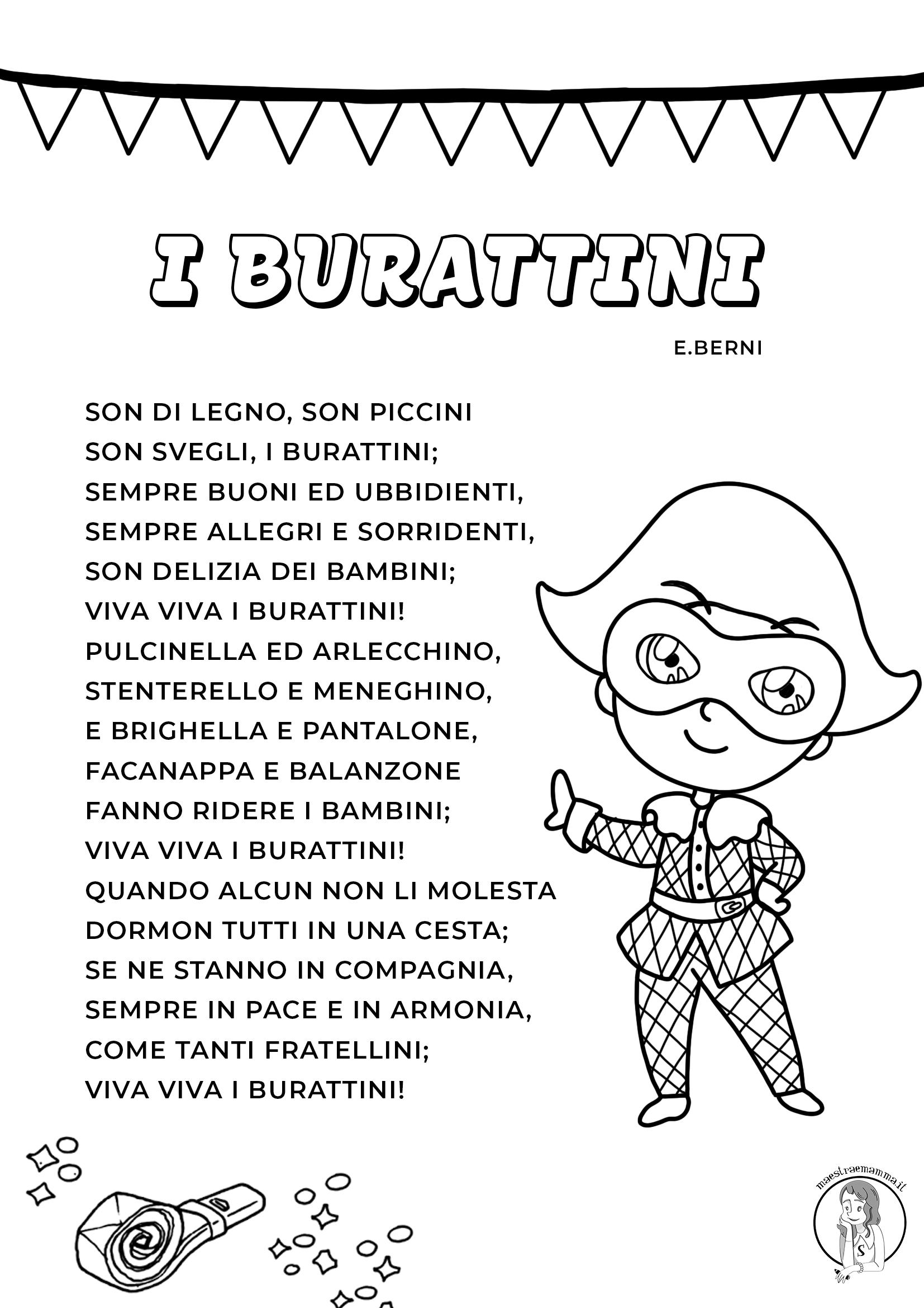 Filastrocca di Carnevale di E. Berni da stampare in bianco e nero o a colori.
