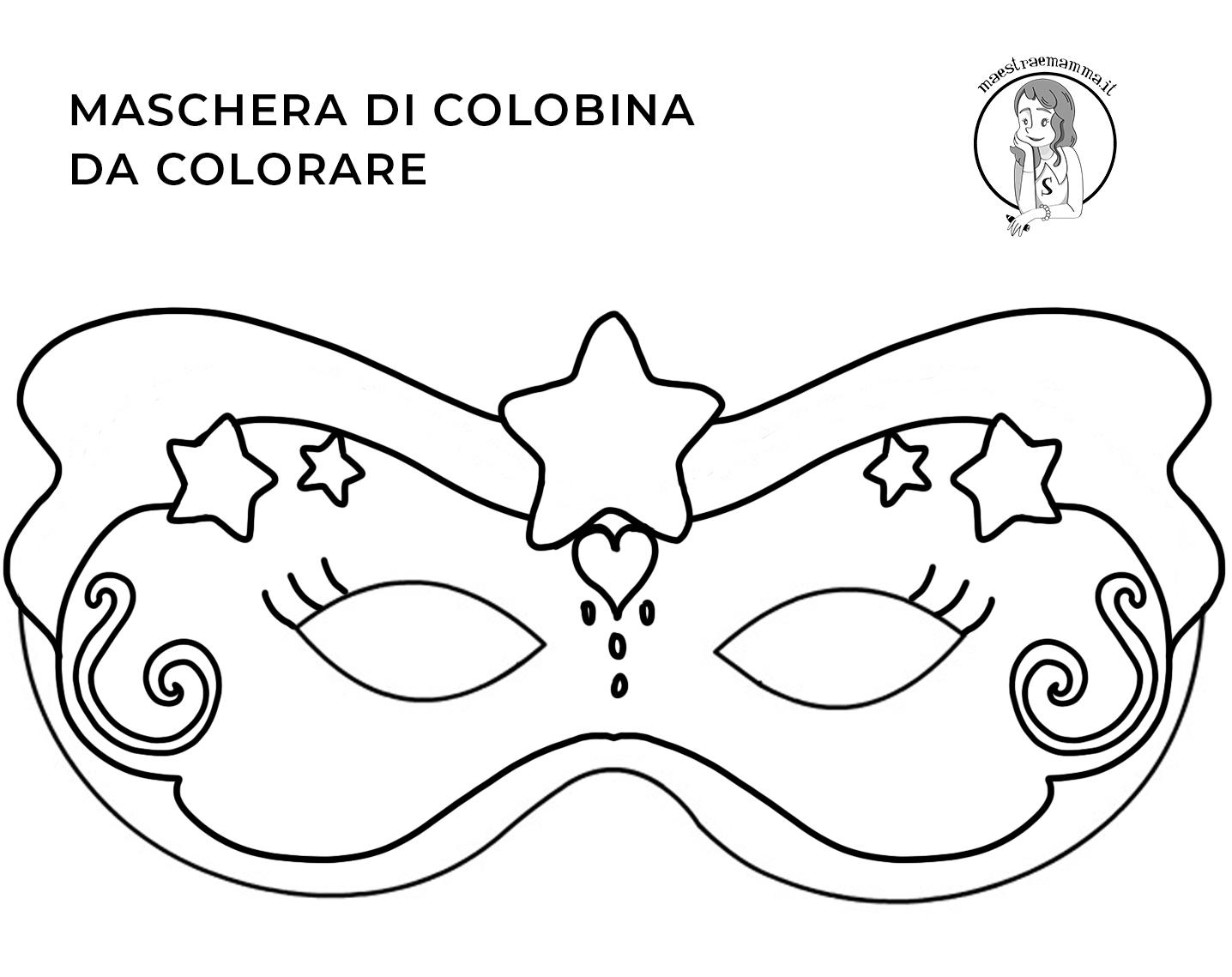 colombina-Maschere di Carnevale da colorare e ritagliare
