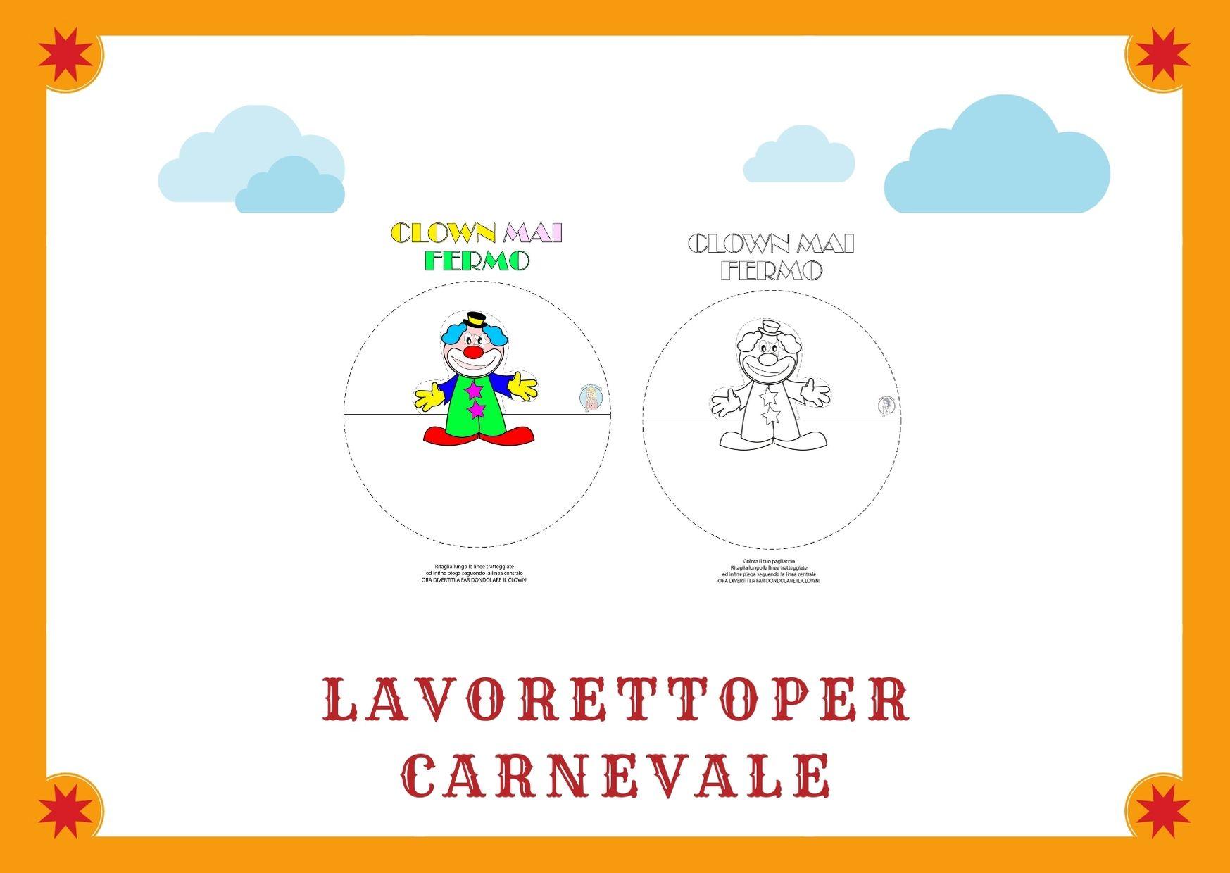 Lavoretto di Carnevale per bambini: semplice clown che dondola