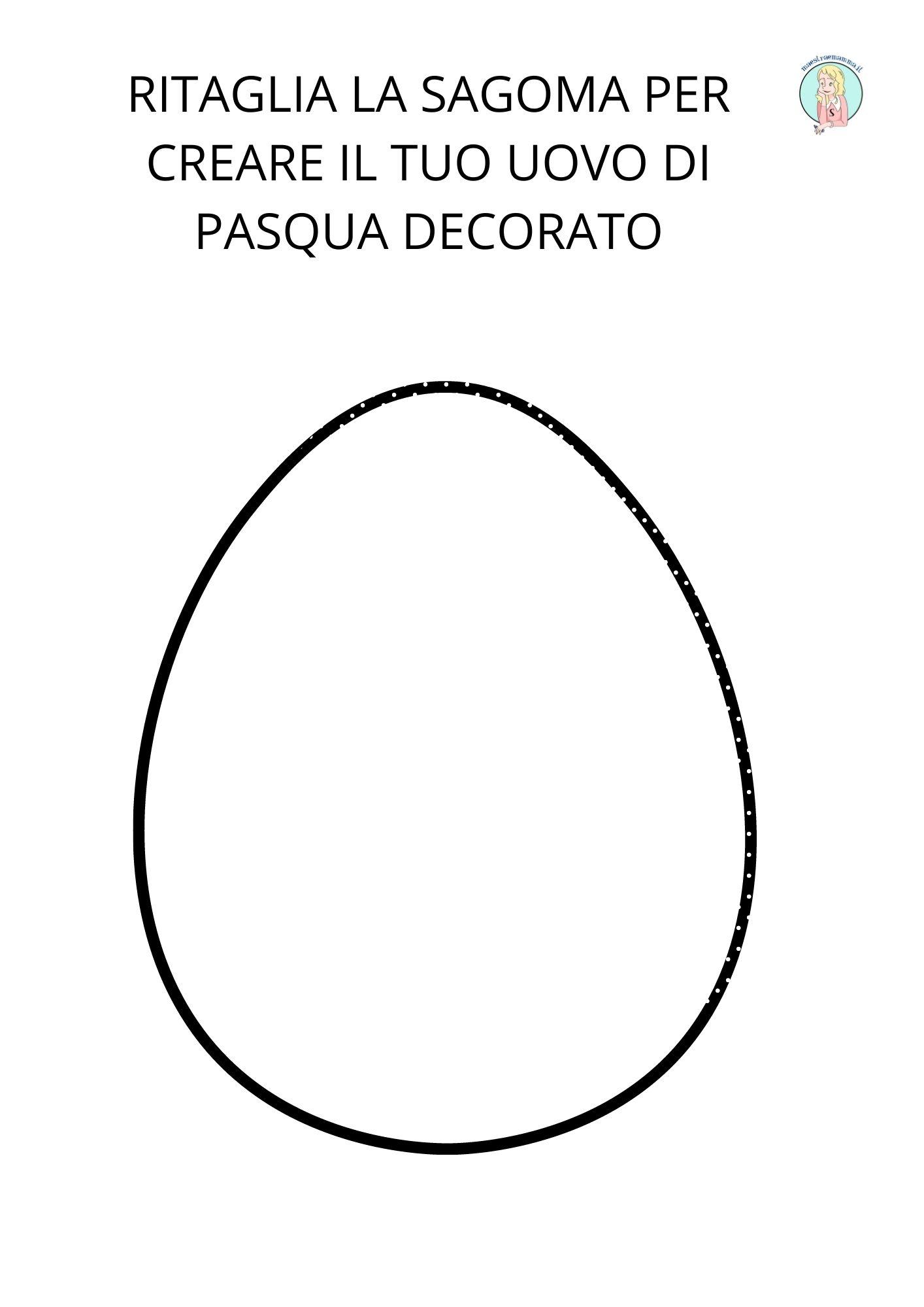 Sagoma uovo di pasqua da ritagliare per fare lavoretto scuola bambini disegno