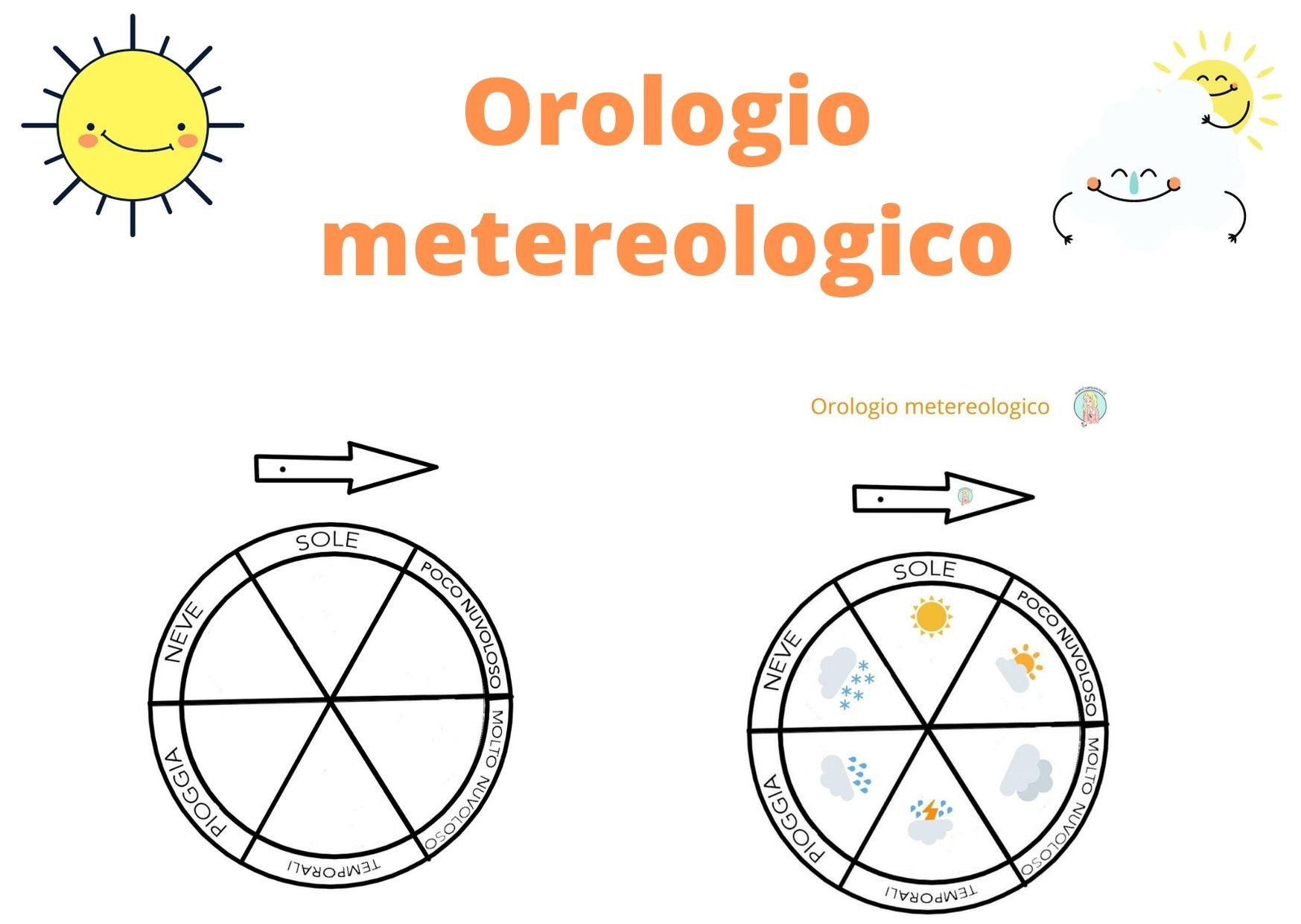 Orologio meteorologico per bambini da stampare