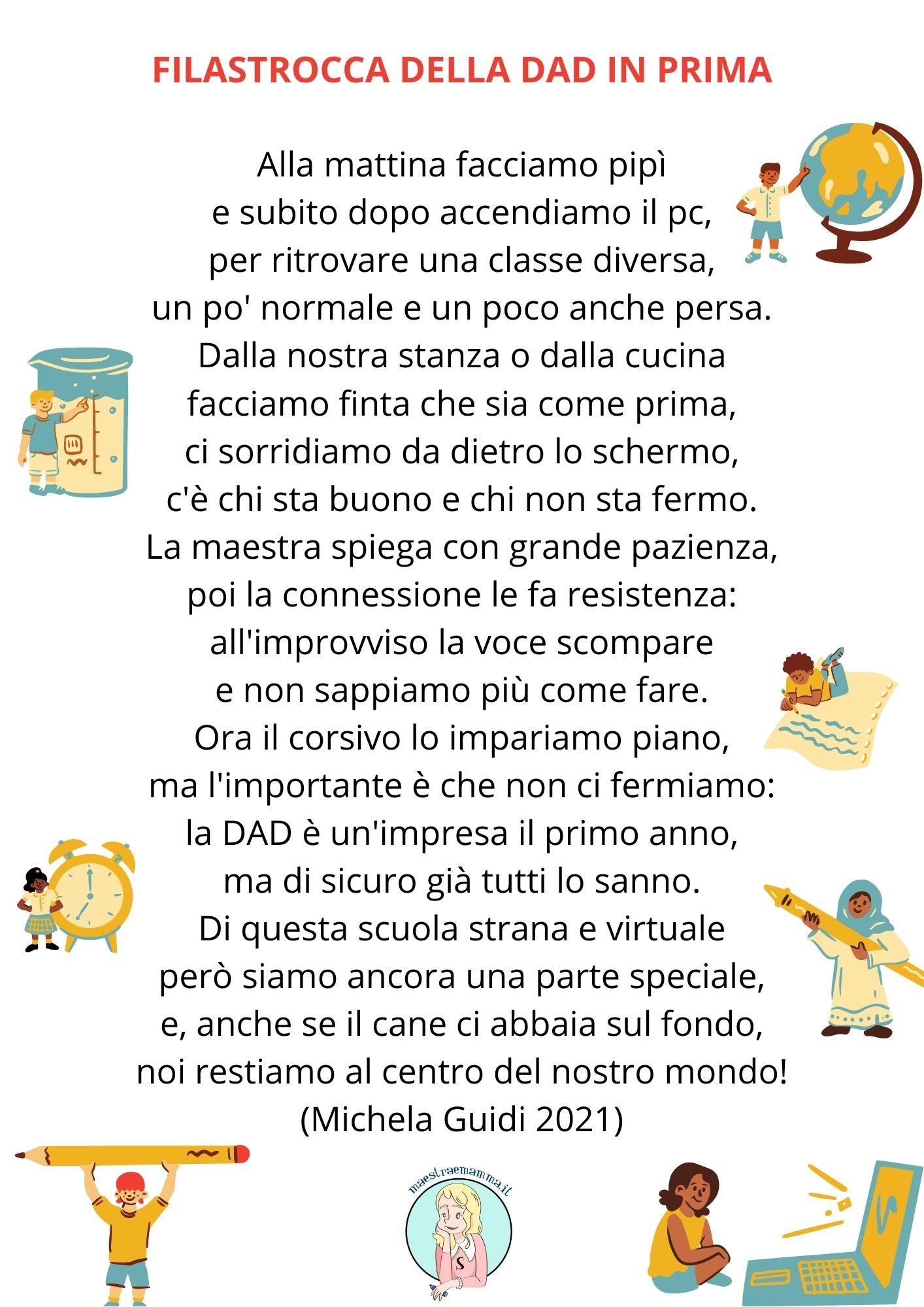 filastrocca poesia dad didattica a distanza coronavirus classe prima scuola primaria bambini