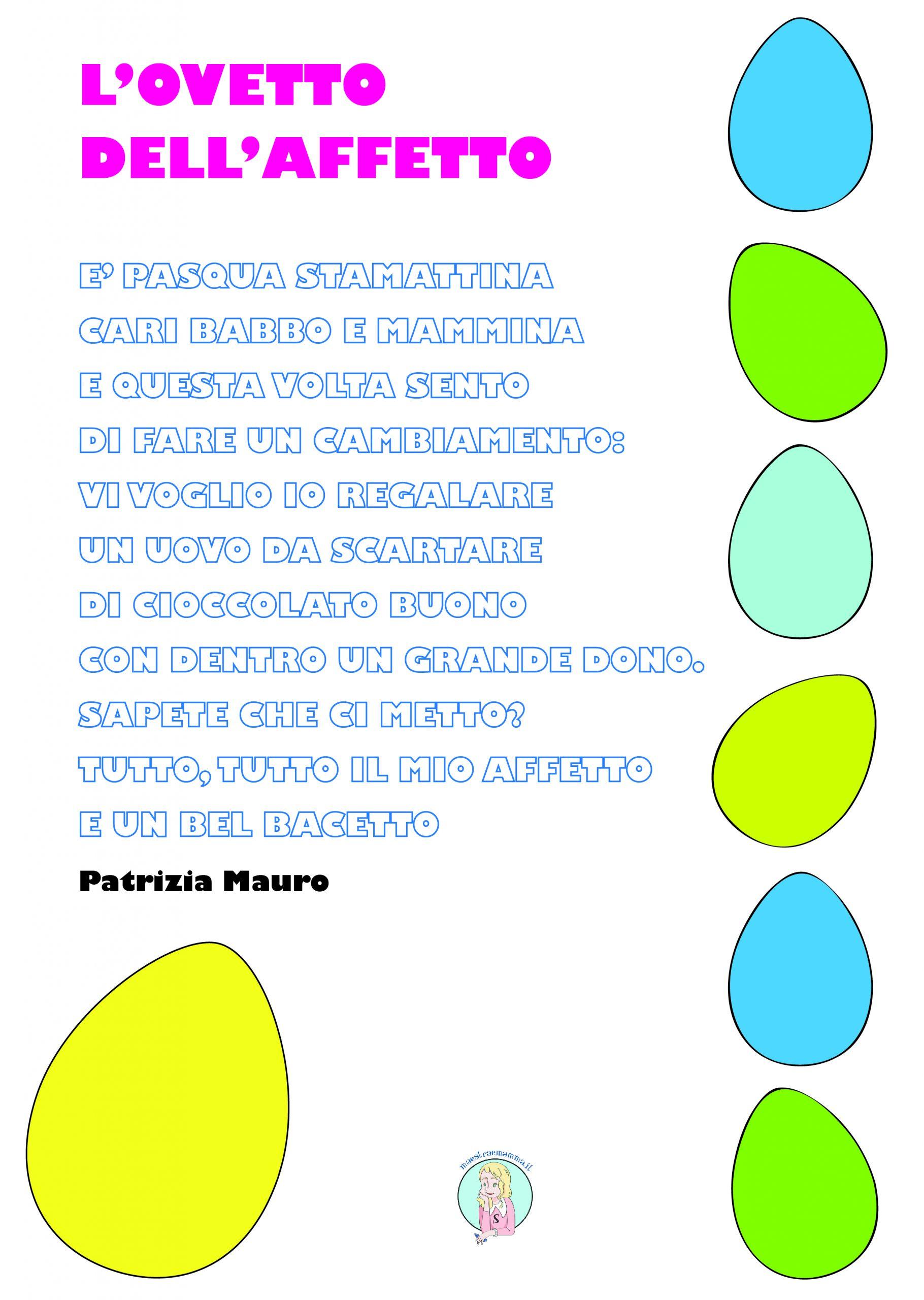 l-ovetto dell-affetto di patrizia mauro poesi per pasqua da stampare per bambini e da colorare