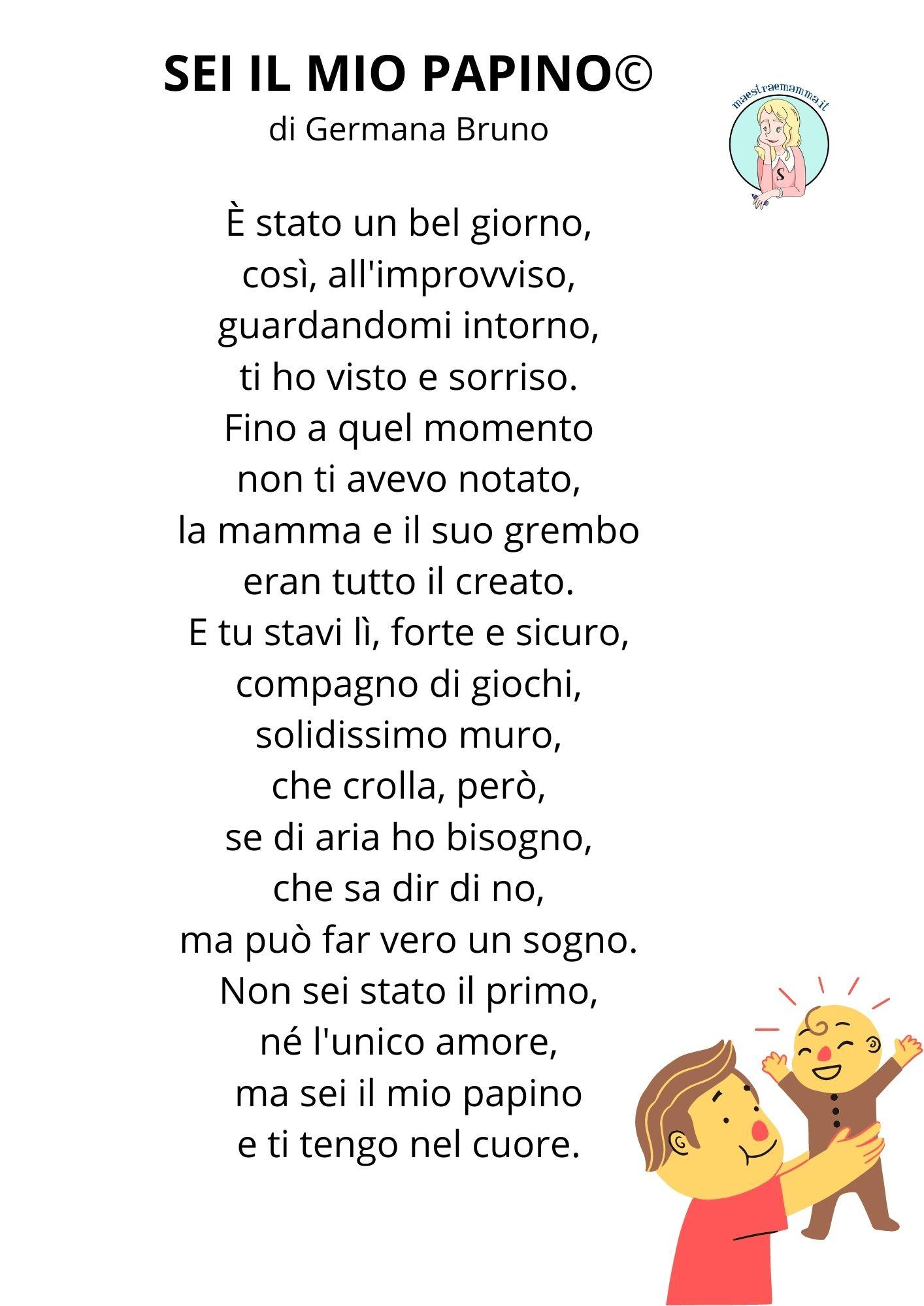 """Poesia per la festa del papà per bambini – """"Sei il mio papino"""" di Germano Bruno"""
