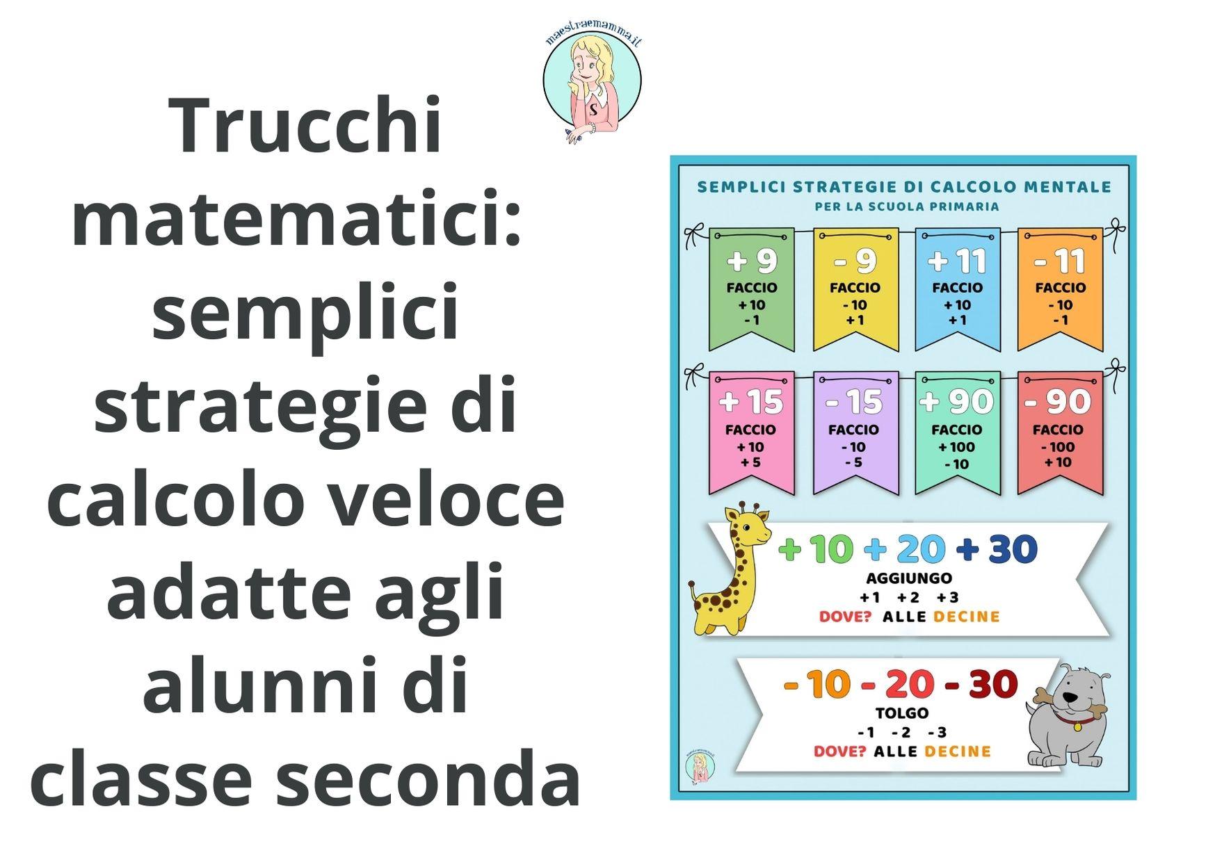 Semplici strategie di calcolo veloce classe seconda