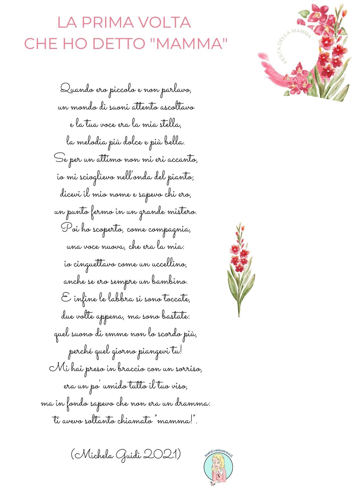 """Poesia per la festa della mamma di Michela Guidi LA PRIMA VOLTA CHE HO DETTO """"MAMMA"""""""