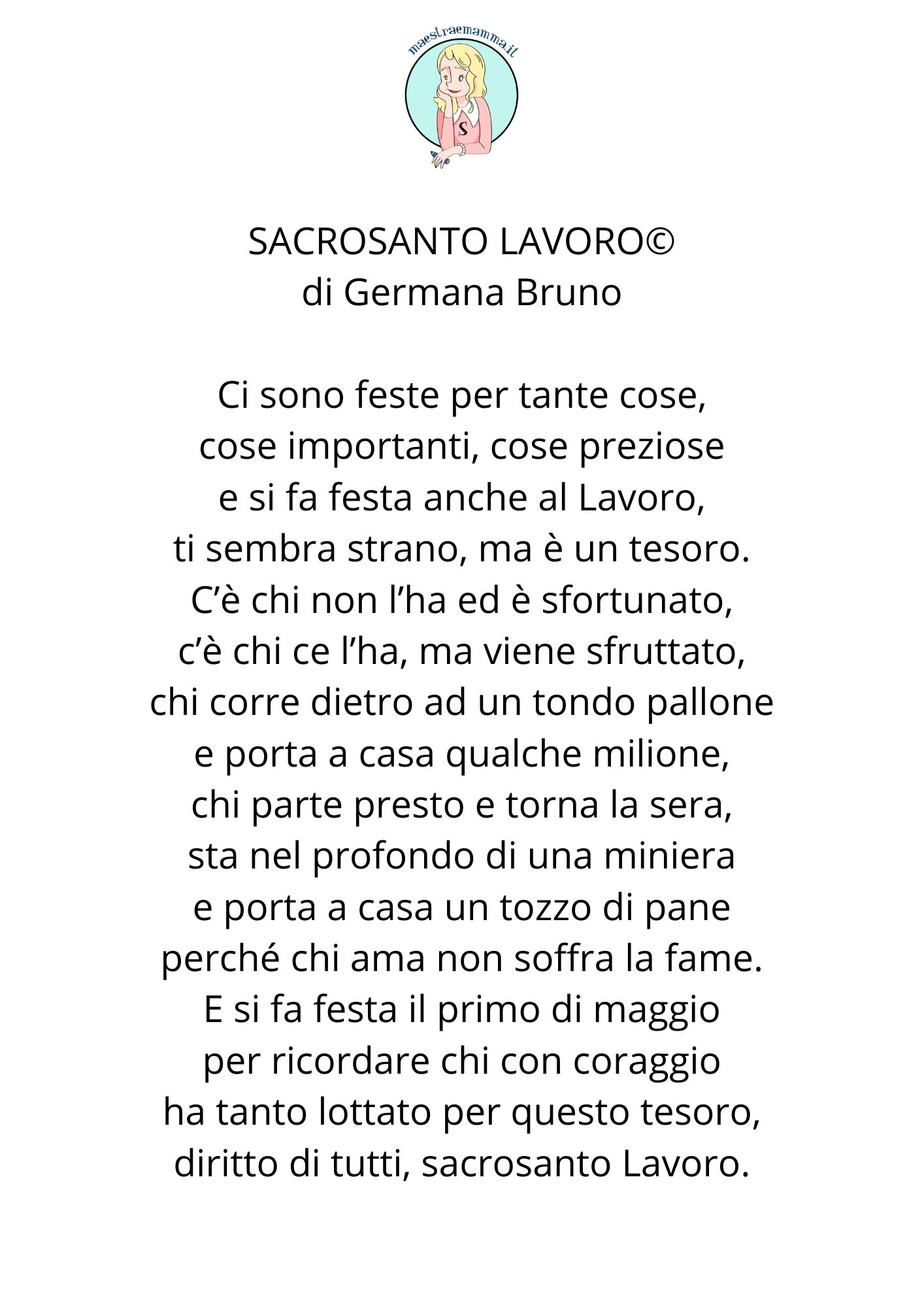 1° MAGGIO , FESTA DEL LAVORO - nuova poesia di Germana Bruno