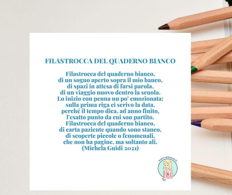 FILASTROCCA DEL QUADERNO BIANCO di Michela Guidi